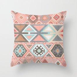 Aztec Artisan Tribal in Pink Throw Pillow