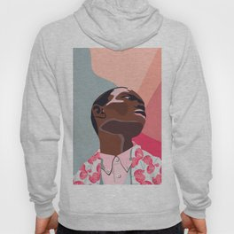 Model - spring pattern with flower motives pastel color background with marble effect Hoody