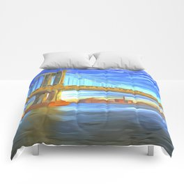 Manhattan Bridge Pop Art Comforters