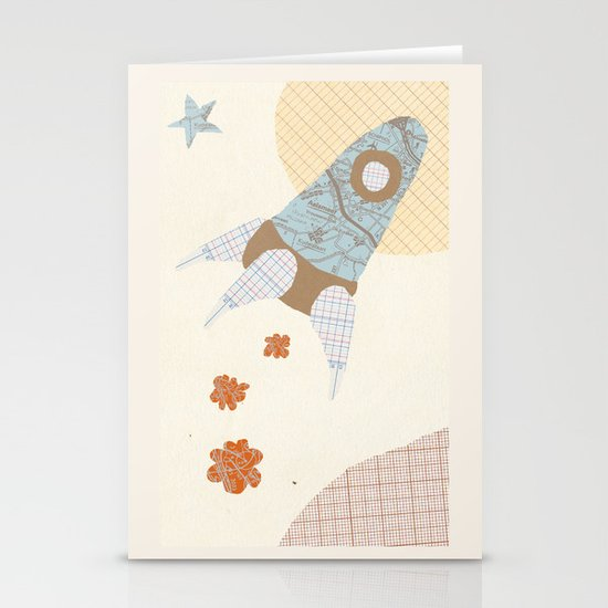 spaceship collage Stationery Cards