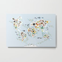 Cartoon animal world map for children and kids, Animals from all over the world, back to school Metal Print