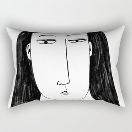 Stylised Charcoal Painting of a Woman Rectangular Pillow