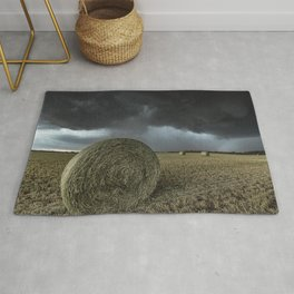 Fade Away - Round Hay Bales in Storm in Oklahoma Rug