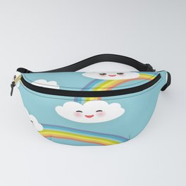 Kawaii funny white clouds set, muzzle with pink cheeks and winking eyes. blue pattern Fanny Pack