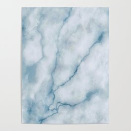 Light blue marble texture Poster