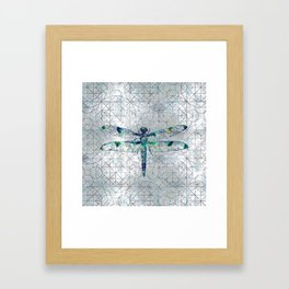 Gemstone Dragonfly on sacred geometry pattern Framed Art Print
