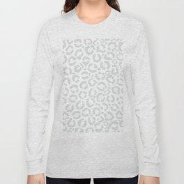 Elegant White Gray Leopard Cheetah Animal Print Long Sleeve T-shirt