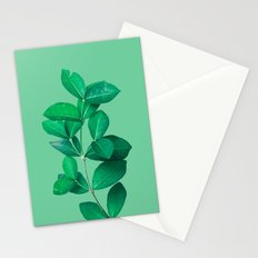 Green Leaves in Green background Stationery Cards