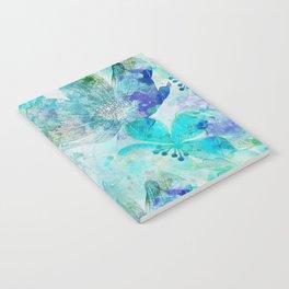 blue turquoise mixed media flower illustration Notebook