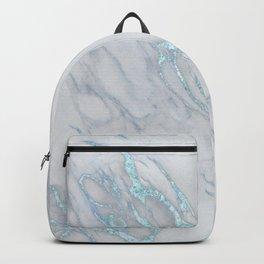Marble Love Sea Blue Metallic Backpack