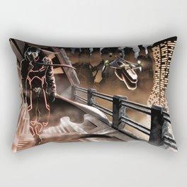 Man walking in a sci-fi city Rectangular Pillow