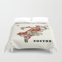 boston Duvet Covers featuring boston map by bri.buckley