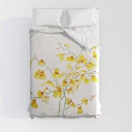 yellow Oncidium Orchid watercolor Duvet Cover