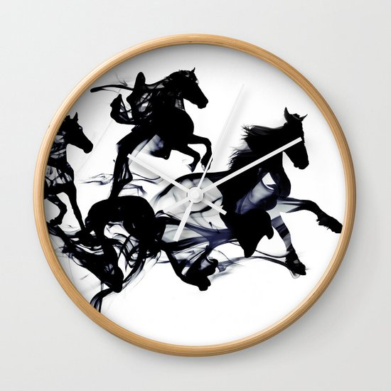 Black horses Wall Clock