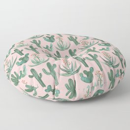 Saguaro Cacti and Aloe Succulents Watercolor Plants on Pink Floor Pillow