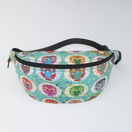 funny colored owls on a turquoise background Fanny Pack