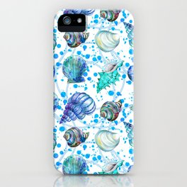 Seamless watercolor marine pattern. Endless texture. Hand draw. Collection of shells on white backgr iPhone Case