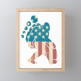 Funny Bigfoot American Flag Footprint Sasquatch Gift Patriotic 4th of July Framed Mini Art Print