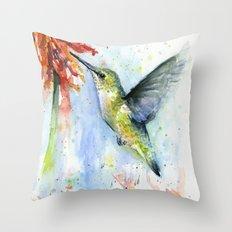 Hummingbird Red Flower Watercolor Bird Throw Pillow