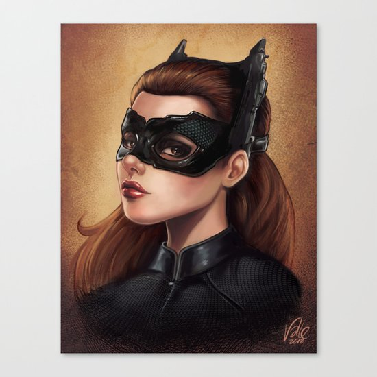 Cute Catwoman Painting  Canvas Print