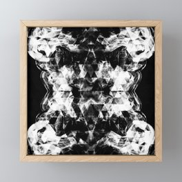 Electrifying black and white sparkly triangle flames Framed Mini Art Print