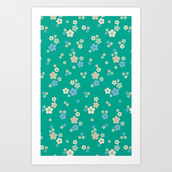 blossom ditsy in emerald Art Print