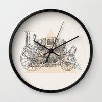 steam punk Wall Clocks featuring Steam punk carriage by grop