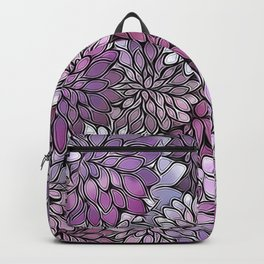 Stain Glass Floral Abstract - Purple-Lavender Backpack