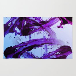 Soft Blue and Magenta Action Painting Rug