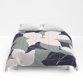 Leafy Floral Collage on Navy Comforters
