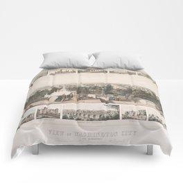 Vintage Pictorial Map of Washington DC (1849) Comforters