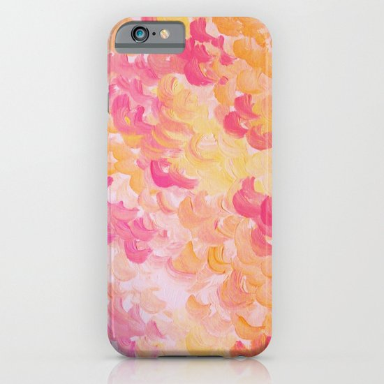 PINK PLUMES - Soft Pastel Wispy Pretty Peach Melon Clouds Strawberry Pink Abstract Acrylic Painting  iPhone & iPod Case