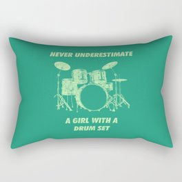 Never Underestimate A Girl With A Drum Set Funny Drums Vintage Drummer Distressed Rectangular Pillow