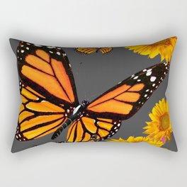 MONARCH BUTTERFLIES & GOLDEN SUNFLOWERS ON GREY Rectangular Pillow