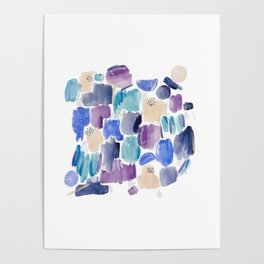 Marking making abstract pattern - deep blue purple peach and teal Poster