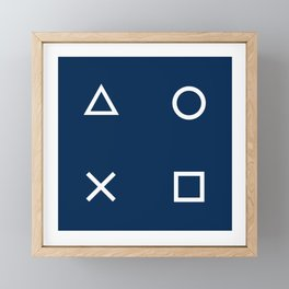 Gamepad Symbols Pattern - Navy Blue Framed Mini Art Print