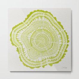 Lime Tree Rings Metal Print
