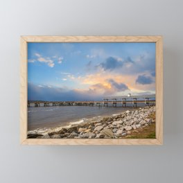 Pier and Seawall in Late Afternoon Framed Mini Art Print