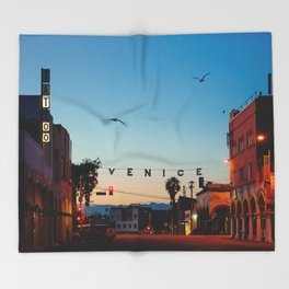 Venice Beach California Sunrise Throw Blanket
