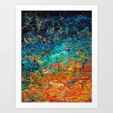 ETERNAL TIDE 2 Rainbow Ombre Ocean Waves Abstract Acrylic Painting Summer Colorful Beach Blue Orange Art Print