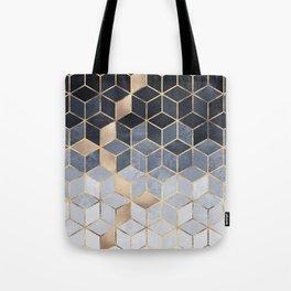 Soft Blue Gradient Cubes Tote Bag