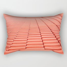 Overlapping rows of red tiles roof Rectangular Pillow