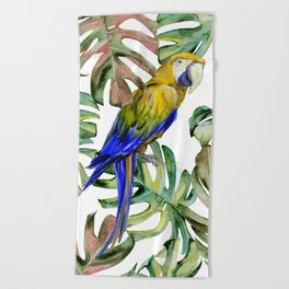PARROT IN THE JUNGLE Beach Towel