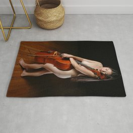 0199-JC Nude Cellist with Her Cello and Bow Naked Young Woman Musician Art Sexy Erotic Sweet Sensual Rug