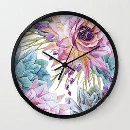 FLOWERS WATERCOLOR 19 Wall Clock
