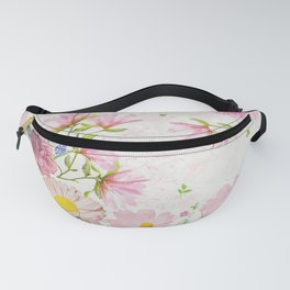 Pink Floral Drawing Fanny Pack