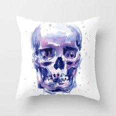 Skull Watercolor Purple Colorful Throw Pillow