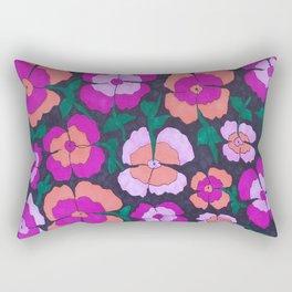 Summery Floral Garden Print Rectangular Pillow