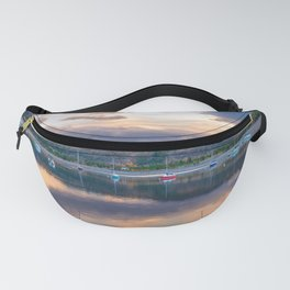 Calm Waters // Lake and Boats at Sunset Beautiful Landscape Photograph Scenic Mountain View Fanny Pack