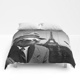 Gentleman Sloth in Paris Comforters